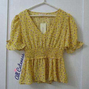 Yellow Floral Print Blouse Size S